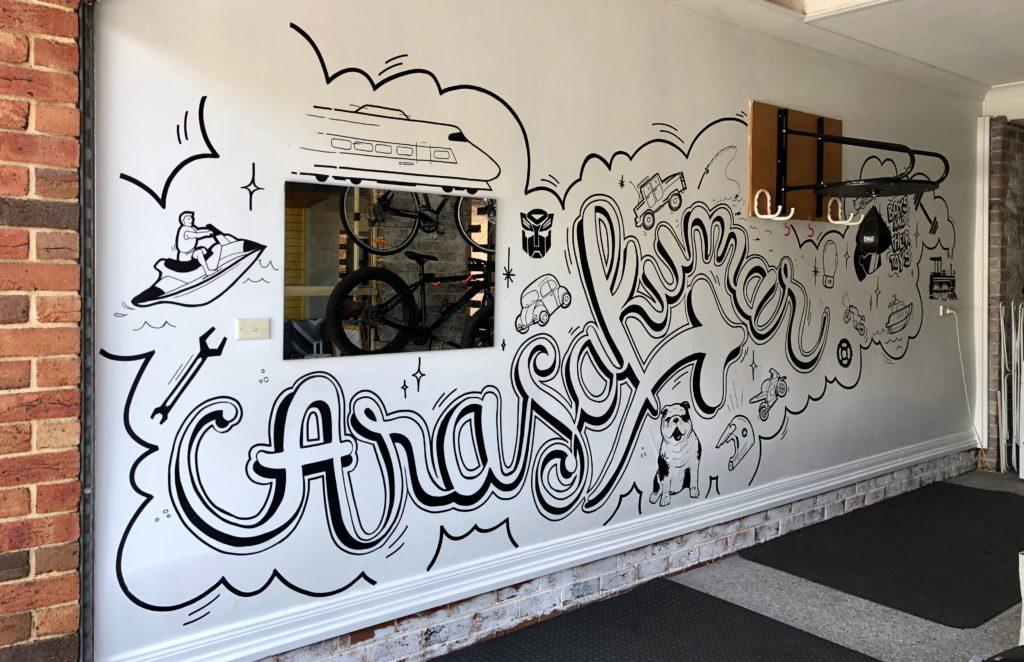 Private garage lettering