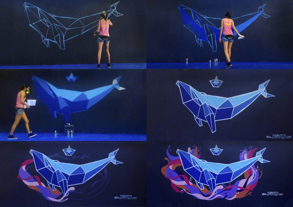 Geometric graffiti whale